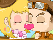لعبة تقبيل في السماء الرومانسية